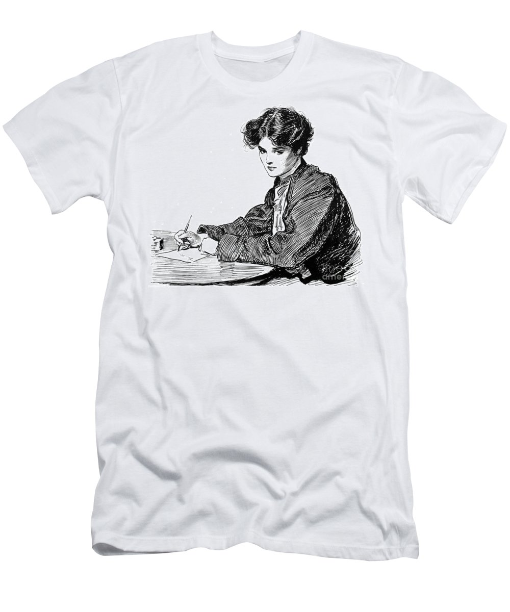 1900 Men's T-Shirt (Athletic Fit) featuring the photograph Gibson: Drawings, C1900 by Granger