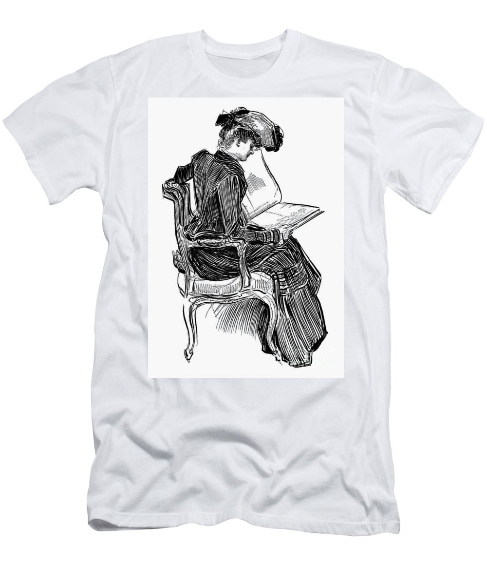 19th Century Men's T-Shirt (Athletic Fit) featuring the photograph Gibson: Woman Reading by Granger