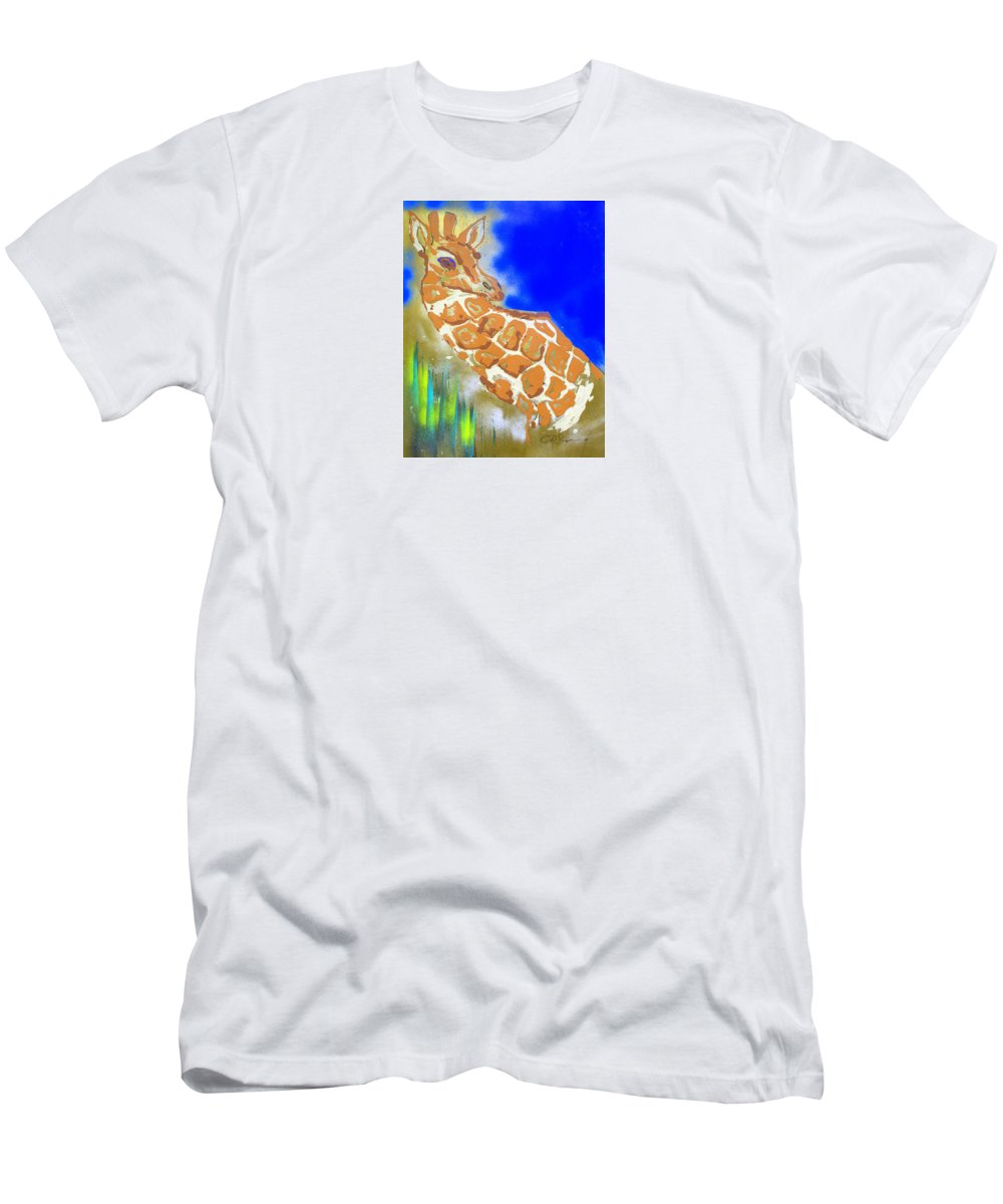 Impressionist Painting Men's T-Shirt (Athletic Fit) featuring the painting Giraffe by J R Seymour