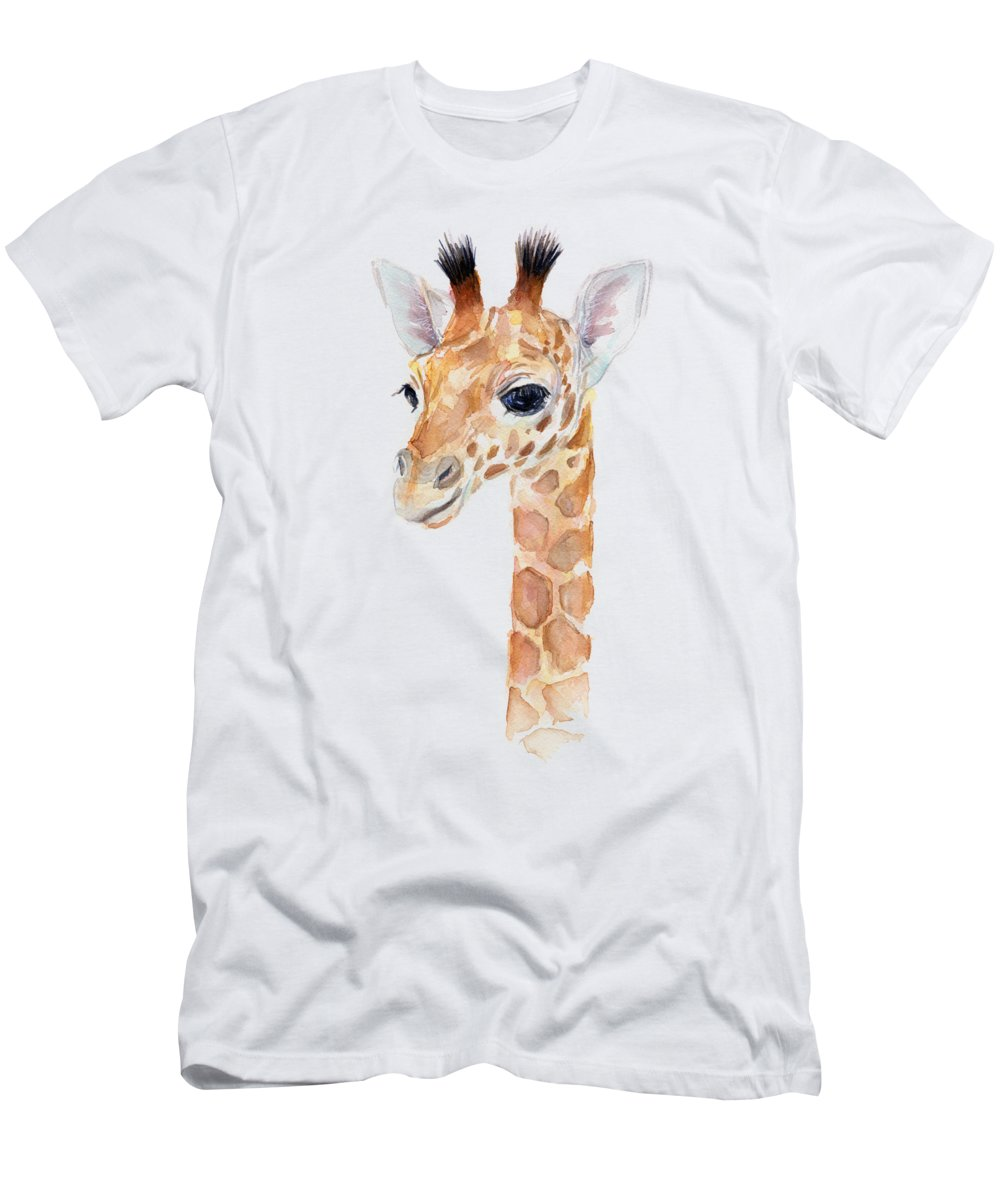 Watercolor Men's T-Shirt (Athletic Fit) featuring the painting Giraffe Watercolor by Olga Shvartsur