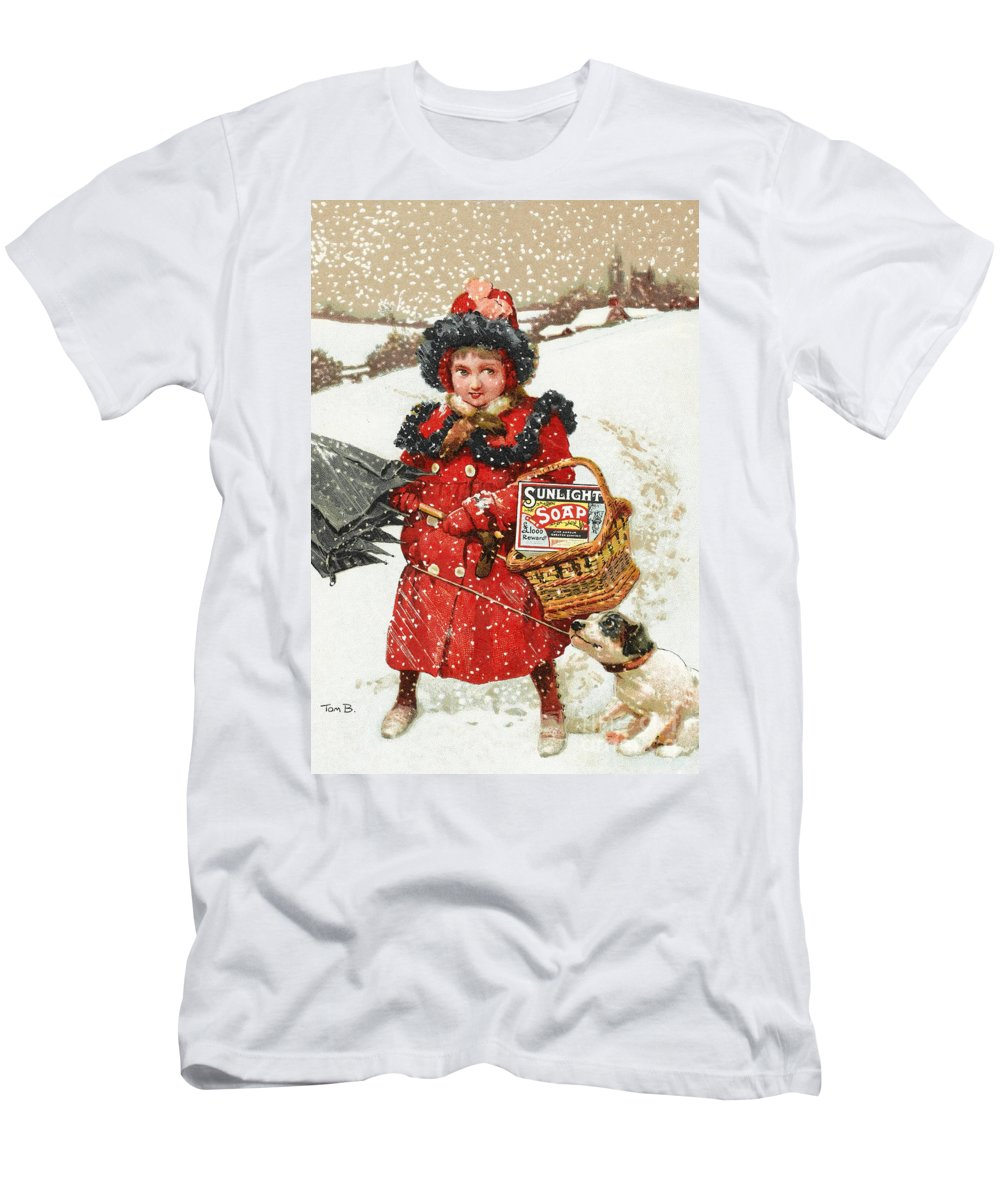 Historic Men's T-Shirt (Athletic Fit) featuring the photograph Girl And Dog In Ad For Sunlight Soap by Wellcome Images