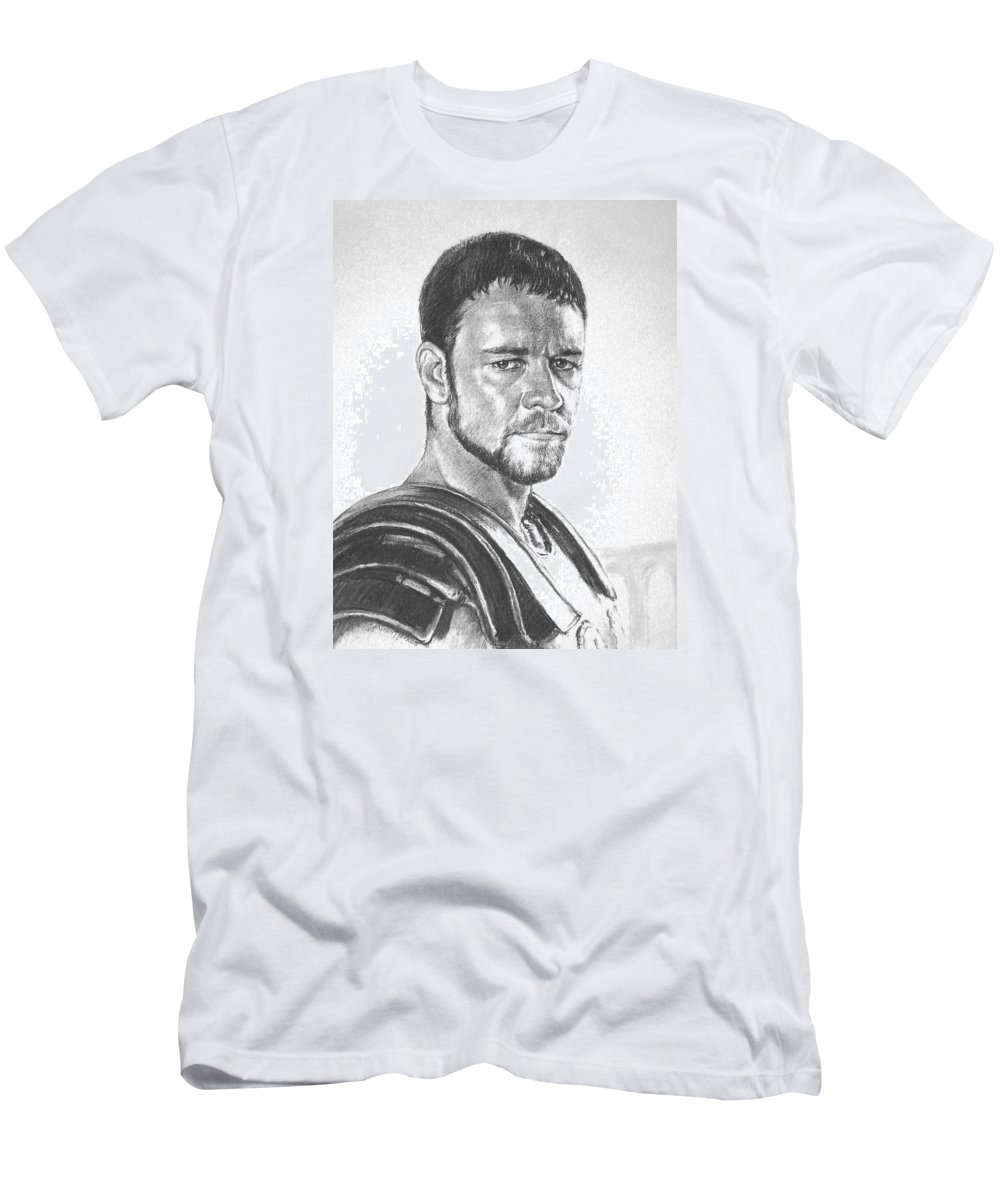 Portraits Men's T-Shirt (Athletic Fit) featuring the drawing Gladiator by Iliyan Bozhanov