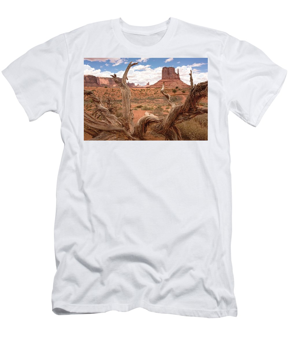 Arizona Men's T-Shirt (Athletic Fit) featuring the photograph Gnarled Tree At Monument Valley by Craig Voth