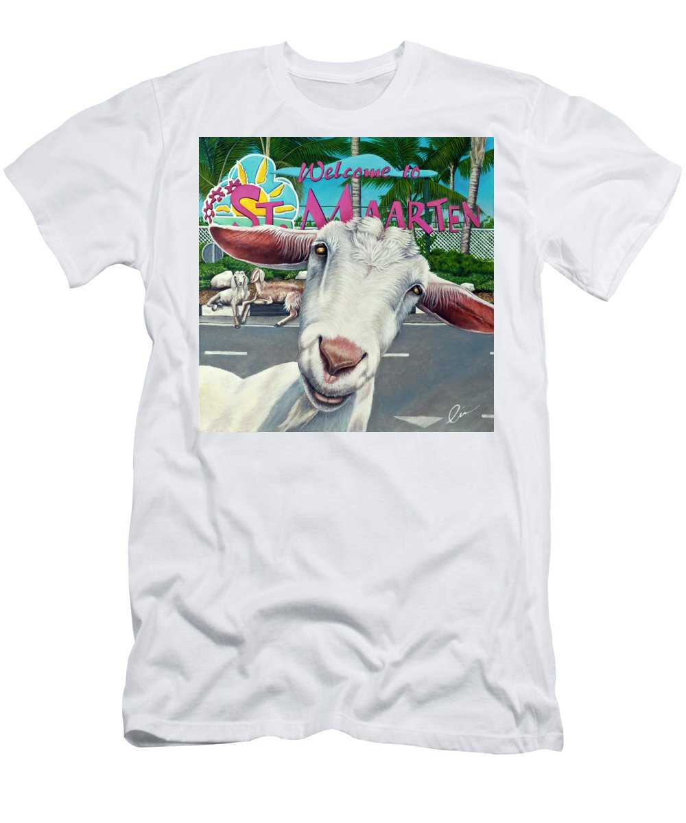 Goat Men's T-Shirt (Athletic Fit) featuring the painting Goats Of St. Maarten- Sofie by Cindy D Chinn