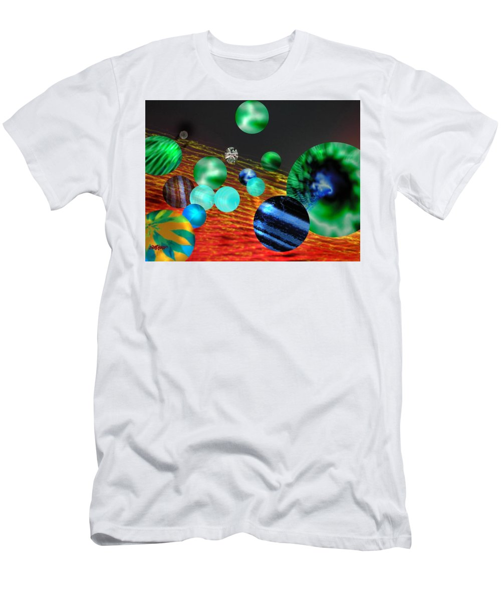 A Tribute To Donovan And His Song cosmic Wheels. A Line In The Song...god Is Playing Marbles With Men's T-Shirt (Athletic Fit) featuring the digital art God Playing Marbles Tribute To Donovan by Seth Weaver