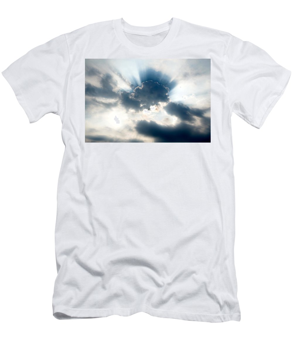 Sun Men's T-Shirt (Athletic Fit) featuring the photograph Gods Rays by Greg Fortier