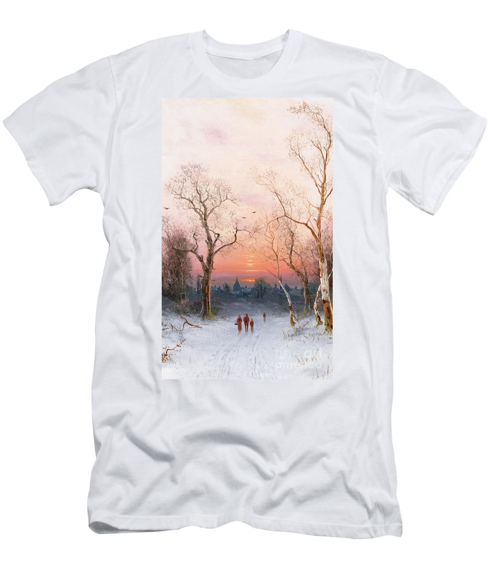 Sunset; Ice Men's T-Shirt (Athletic Fit) featuring the painting Going Home by Nils Hans Christiansen