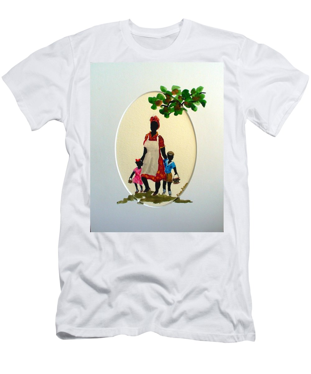 Caribbean Children Men's T-Shirt (Athletic Fit) featuring the painting Going To School by Karin Dawn Kelshall- Best