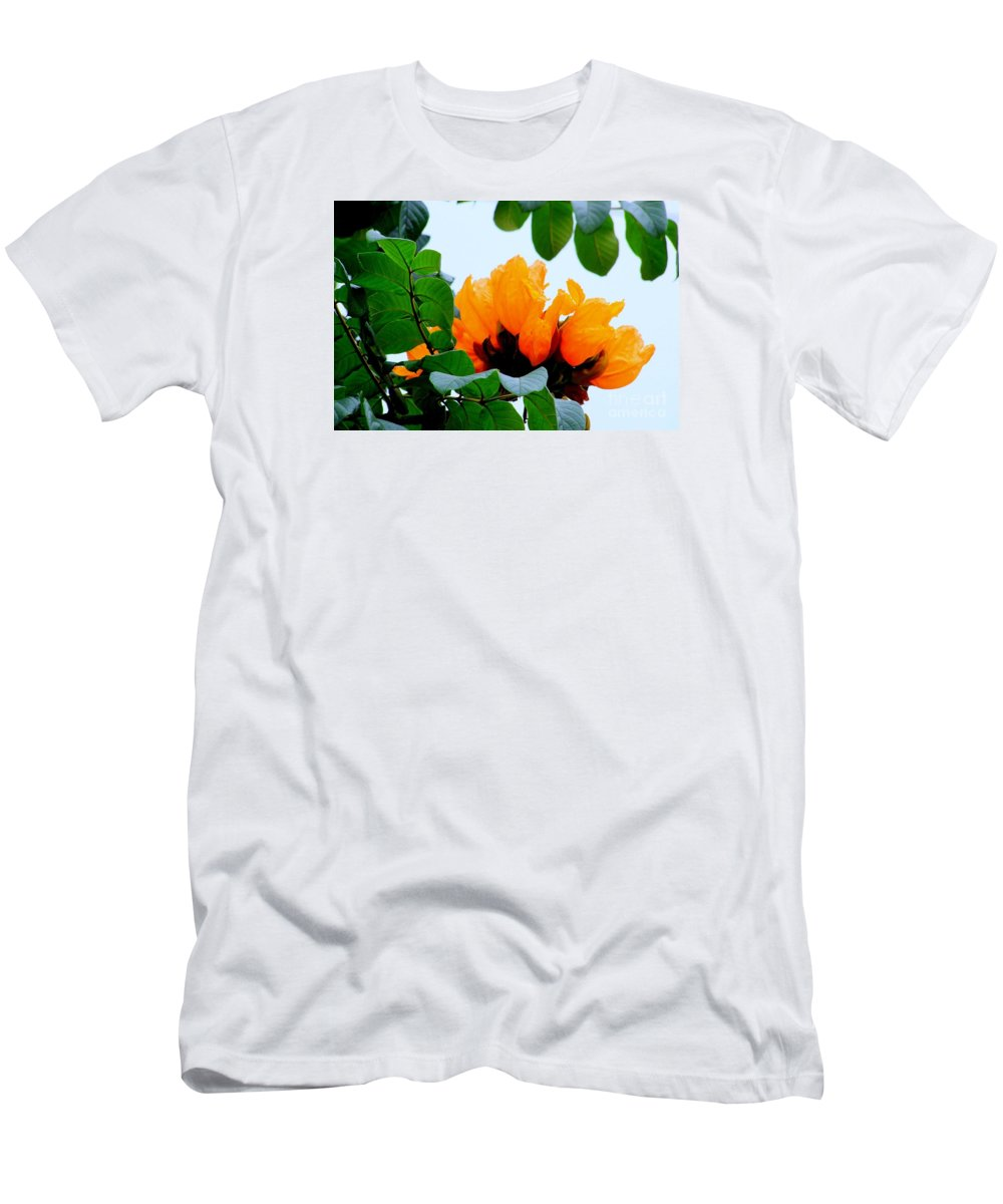 Africa Men's T-Shirt (Athletic Fit) featuring the photograph Gold African Tulips by Mary Deal