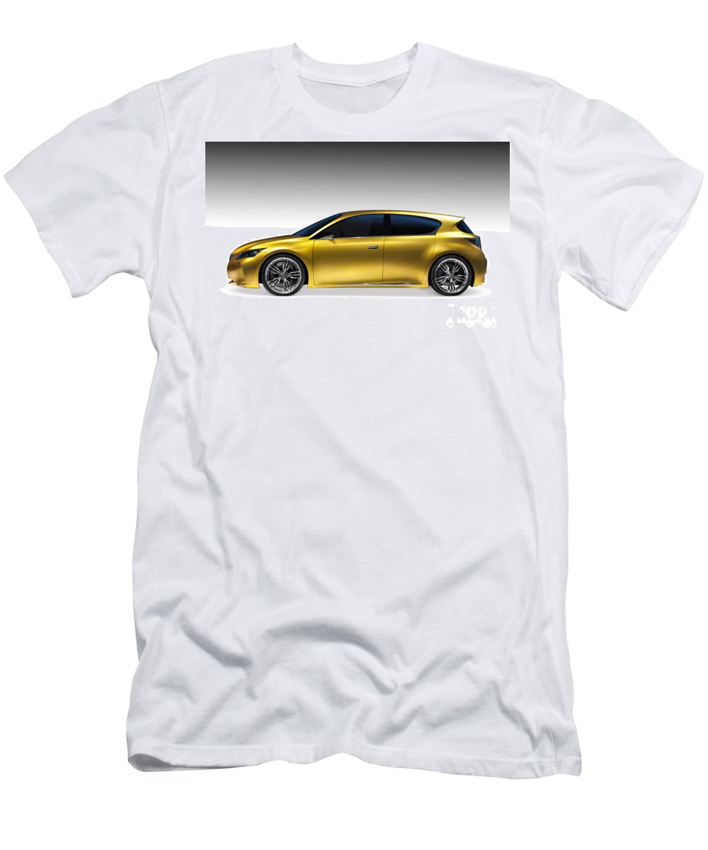 Car Men's T-Shirt (Athletic Fit) featuring the photograph Gold Lexus Lf-ch Hybrid Car by Oleksiy Maksymenko