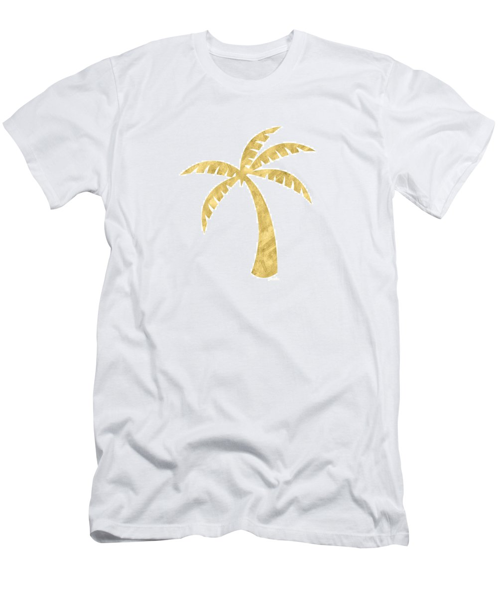 Palm Tree T-Shirt featuring the mixed media Gold Palm Tree- Art by Linda Woods by Linda Woods