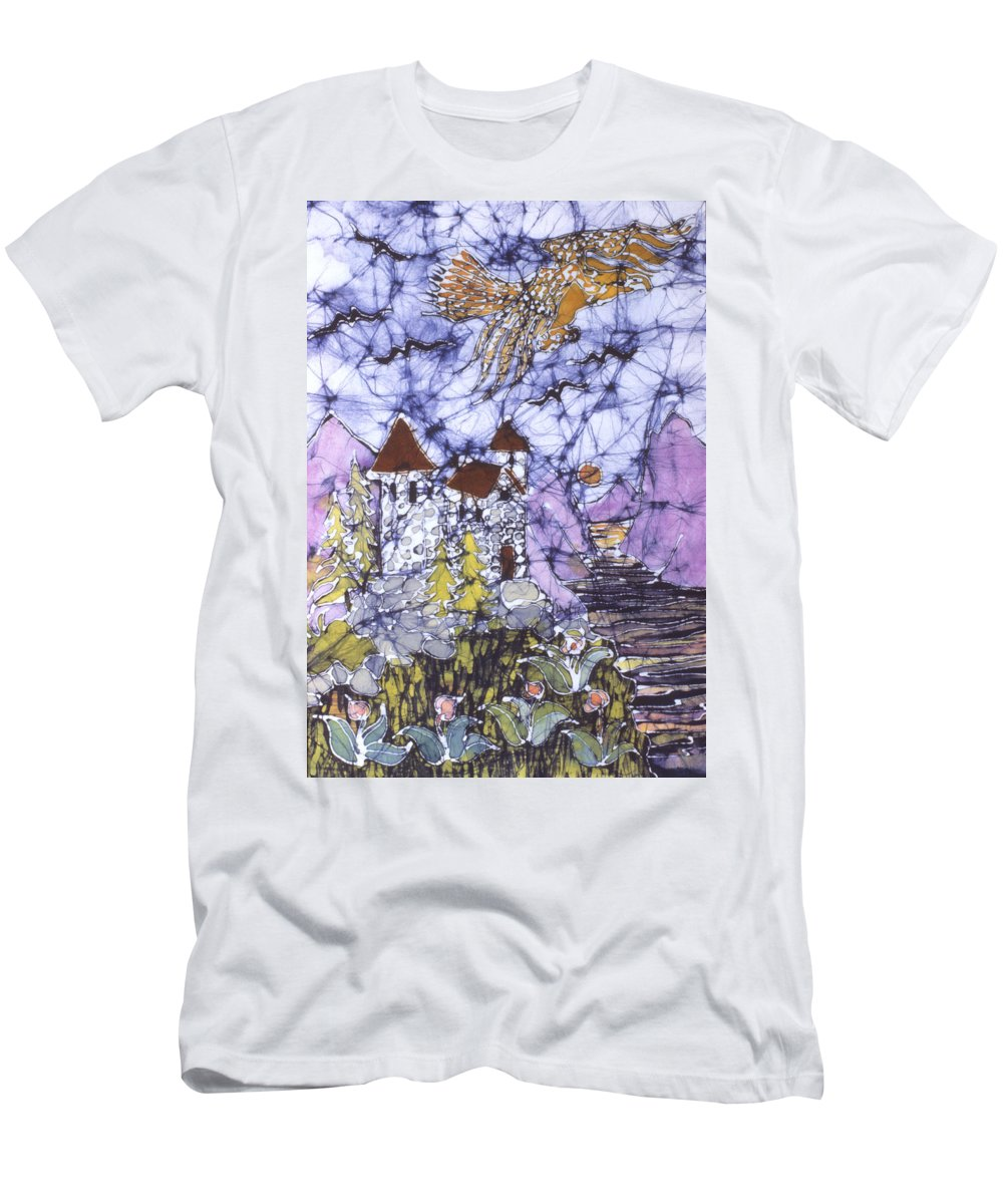 Eagle Men's T-Shirt (Athletic Fit) featuring the tapestry - textile Golden Eagle Flies Above Castle by Carol Law Conklin