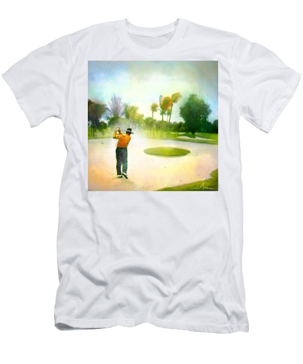 Golf Men's T-Shirt (Athletic Fit) featuring the painting Golf At The Blue Monster In Doral Florida 02 by Miki De Goodaboom