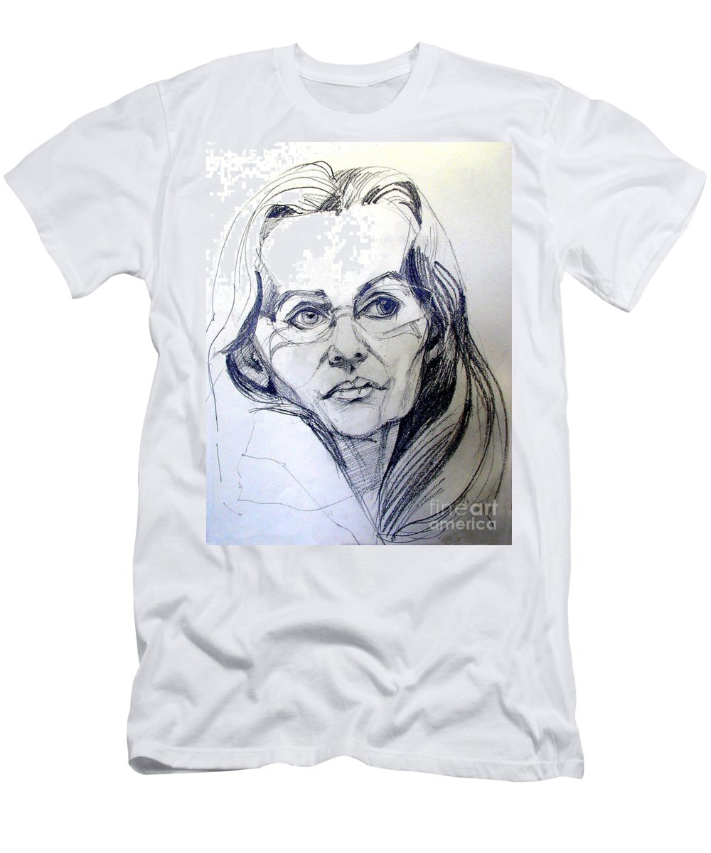 Men's T-Shirt (Athletic Fit) featuring the drawing Graphite Portrait Sketch Of A Woman With Glasses by Greta Corens