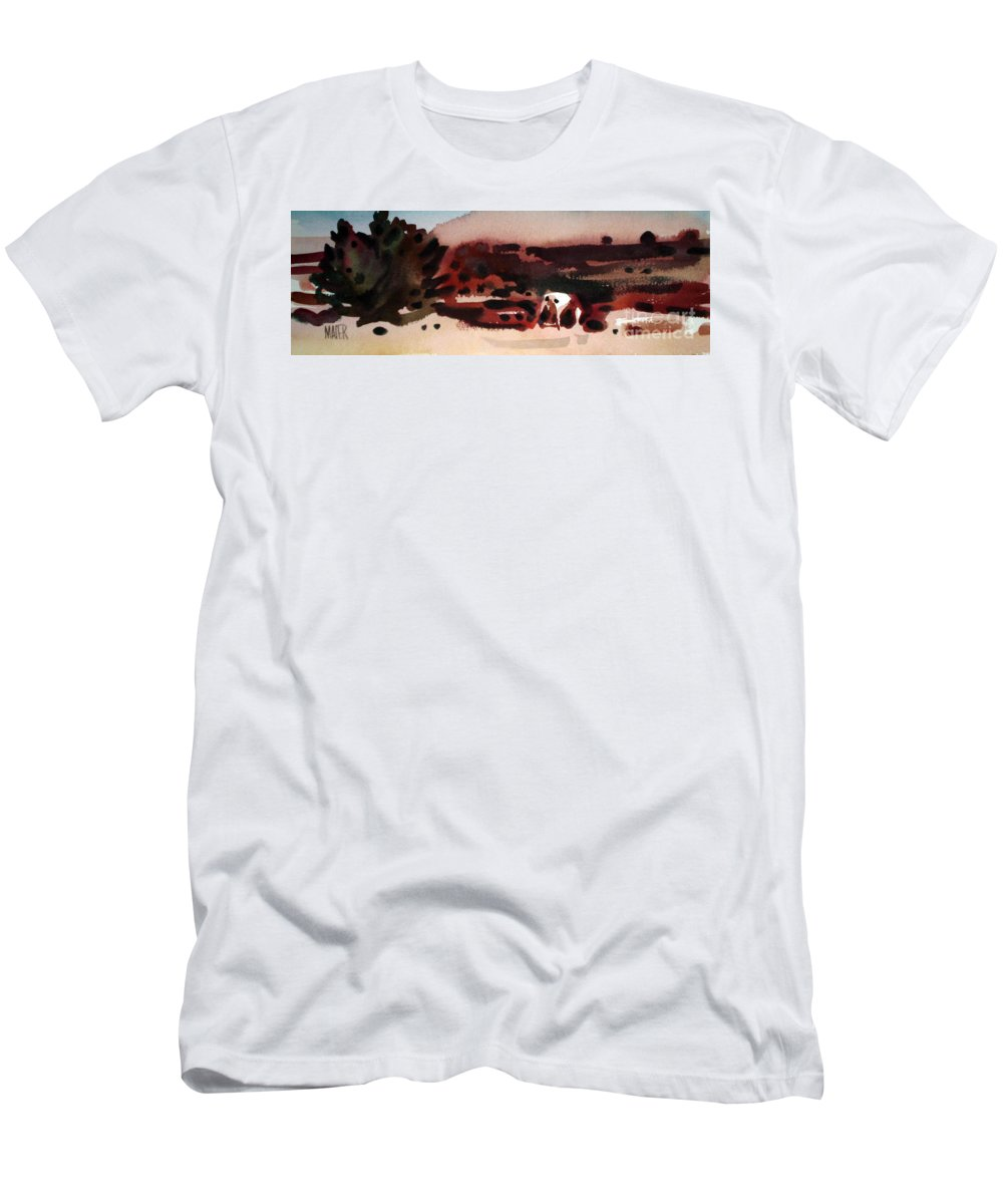 Horse Men's T-Shirt (Athletic Fit) featuring the painting Grazing Pinto by Donald Maier
