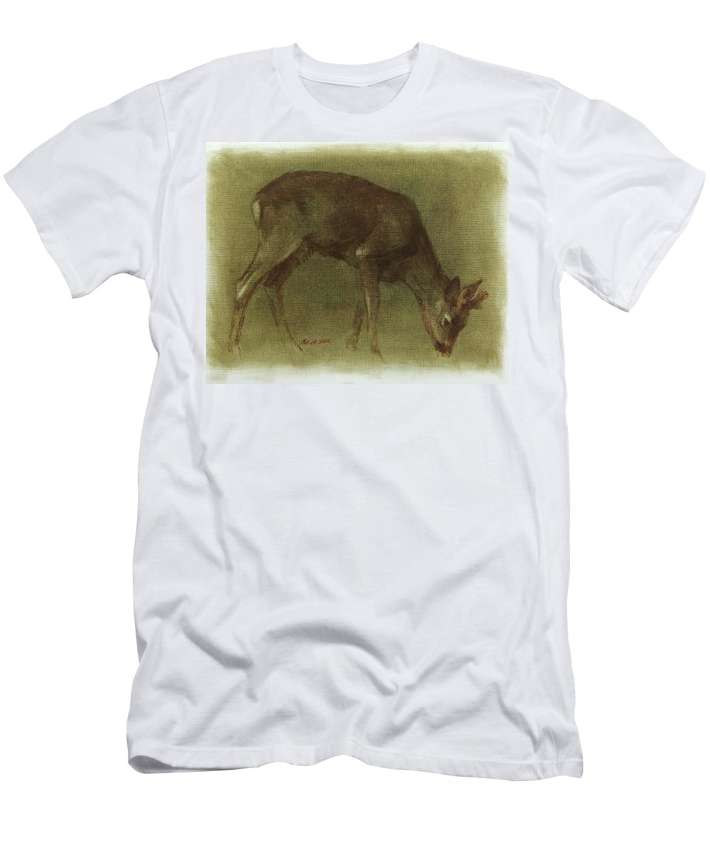Roebuck Men's T-Shirt (Athletic Fit) featuring the painting Grazing Roe Deer Oil Painting by Attila Meszlenyi
