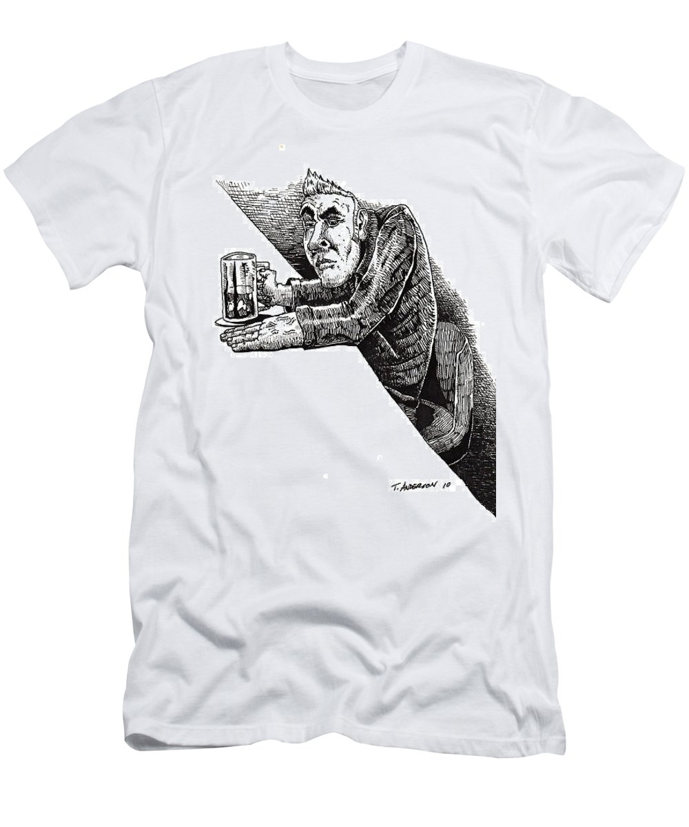 Pen And Ink T-Shirt featuring the drawing Greaser by Tobey Anderson
