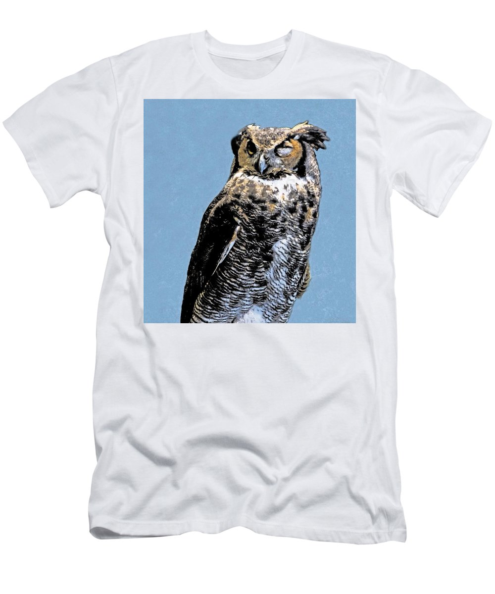 Owl Men's T-Shirt (Athletic Fit) featuring the digital art Great Horned Owl by Mary Lucuski