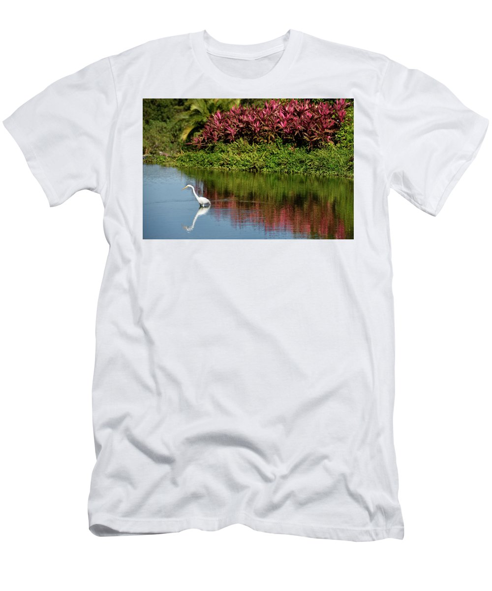Great Men's T-Shirt (Athletic Fit) featuring the photograph Great White Egret Hunting In A Pond In Mexico With Iguana And Re by Reimar Gaertner