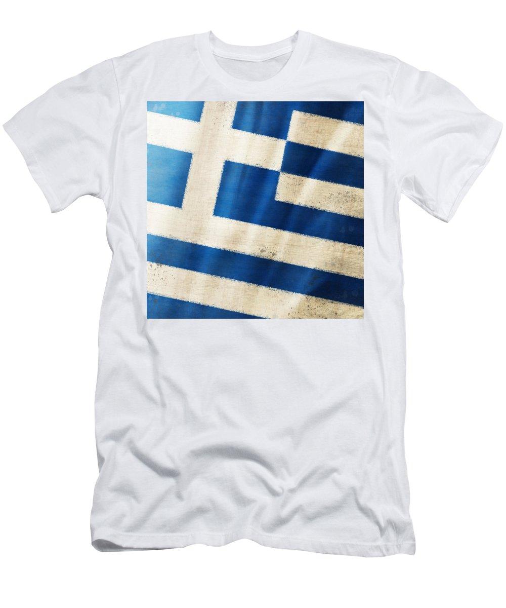 Chalk Men's T-Shirt (Athletic Fit) featuring the photograph Greece Flag by Setsiri Silapasuwanchai