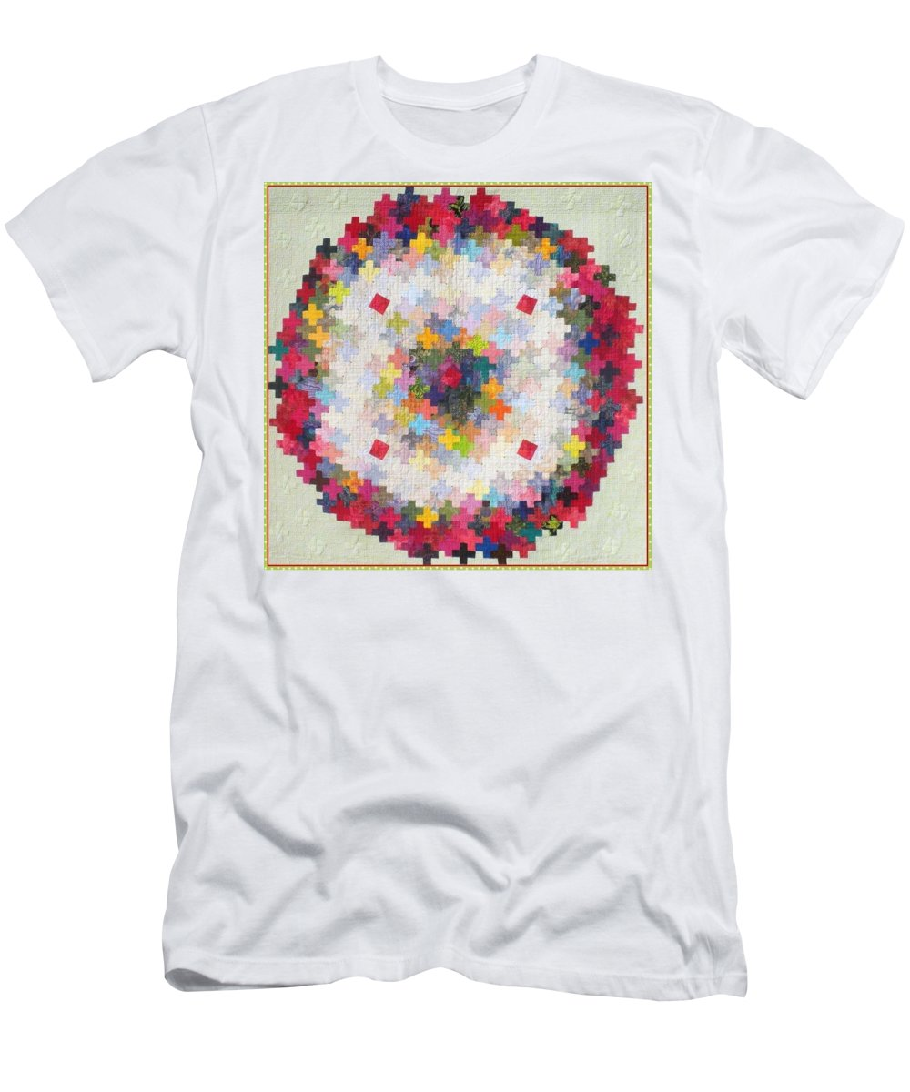 Quilt Men's T-Shirt (Athletic Fit) featuring the tapestry - textile Greek Cross To Square Dissection by Elaine F Ellison