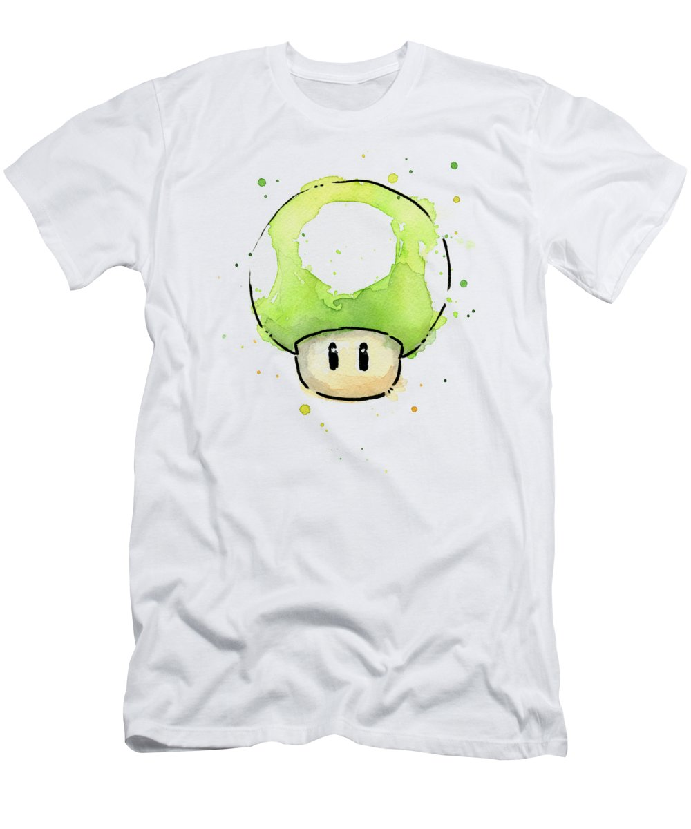 Video Game T-Shirt featuring the painting Green 1UP Mushroom by Olga Shvartsur