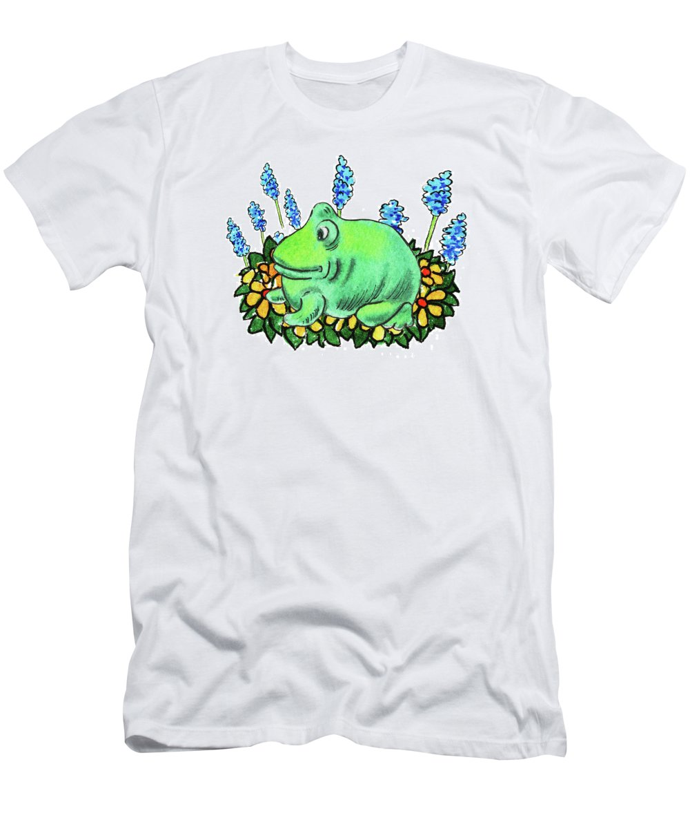 Green Happy Frog Men's T-Shirt (Athletic Fit) featuring the painting Green Happy Frog by Irina Sztukowski