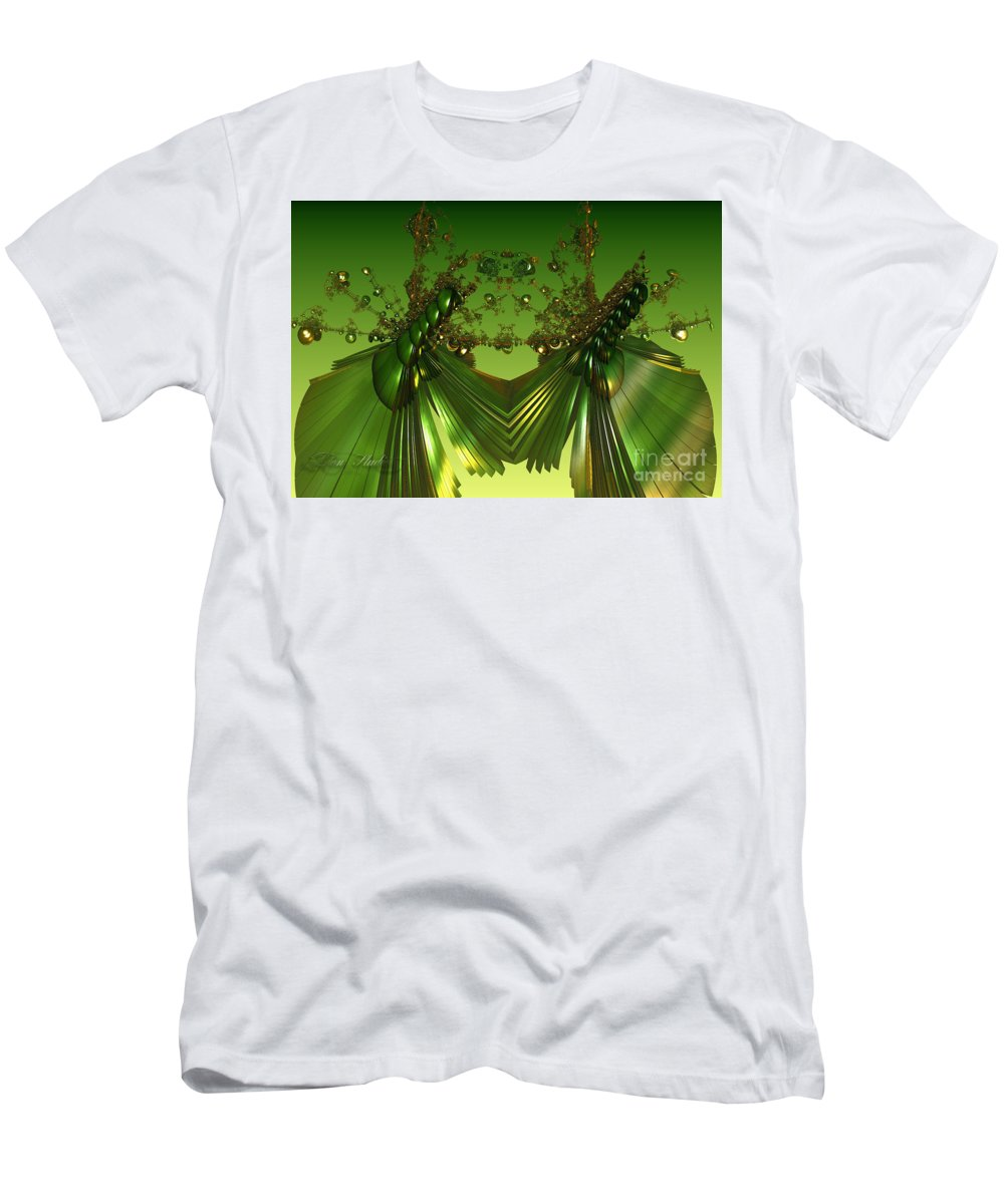 Fractal Men's T-Shirt (Athletic Fit) featuring the digital art Green Insects by Melissa Messick
