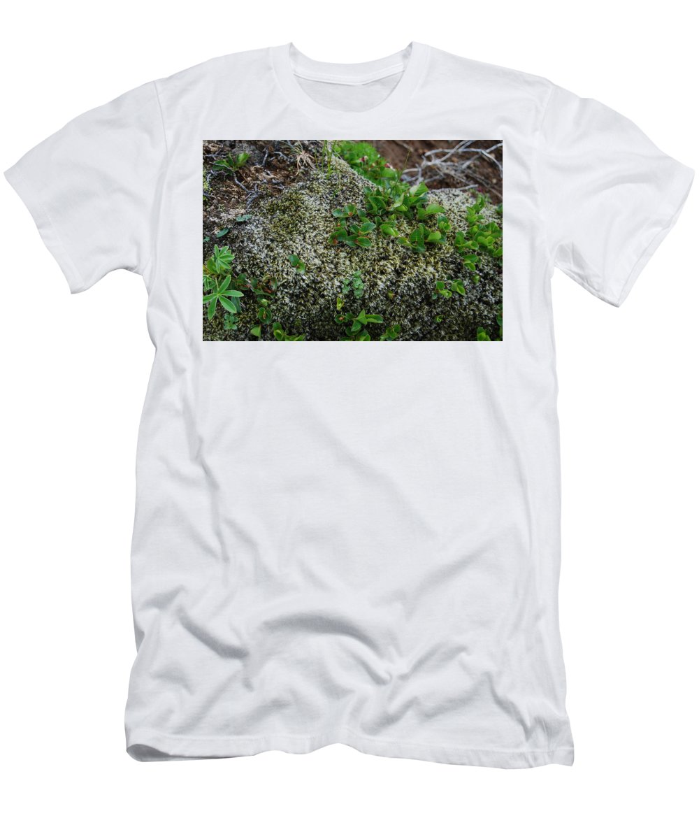 Green Men's T-Shirt (Athletic Fit) featuring the photograph Green On Rocks by Kristen Bird