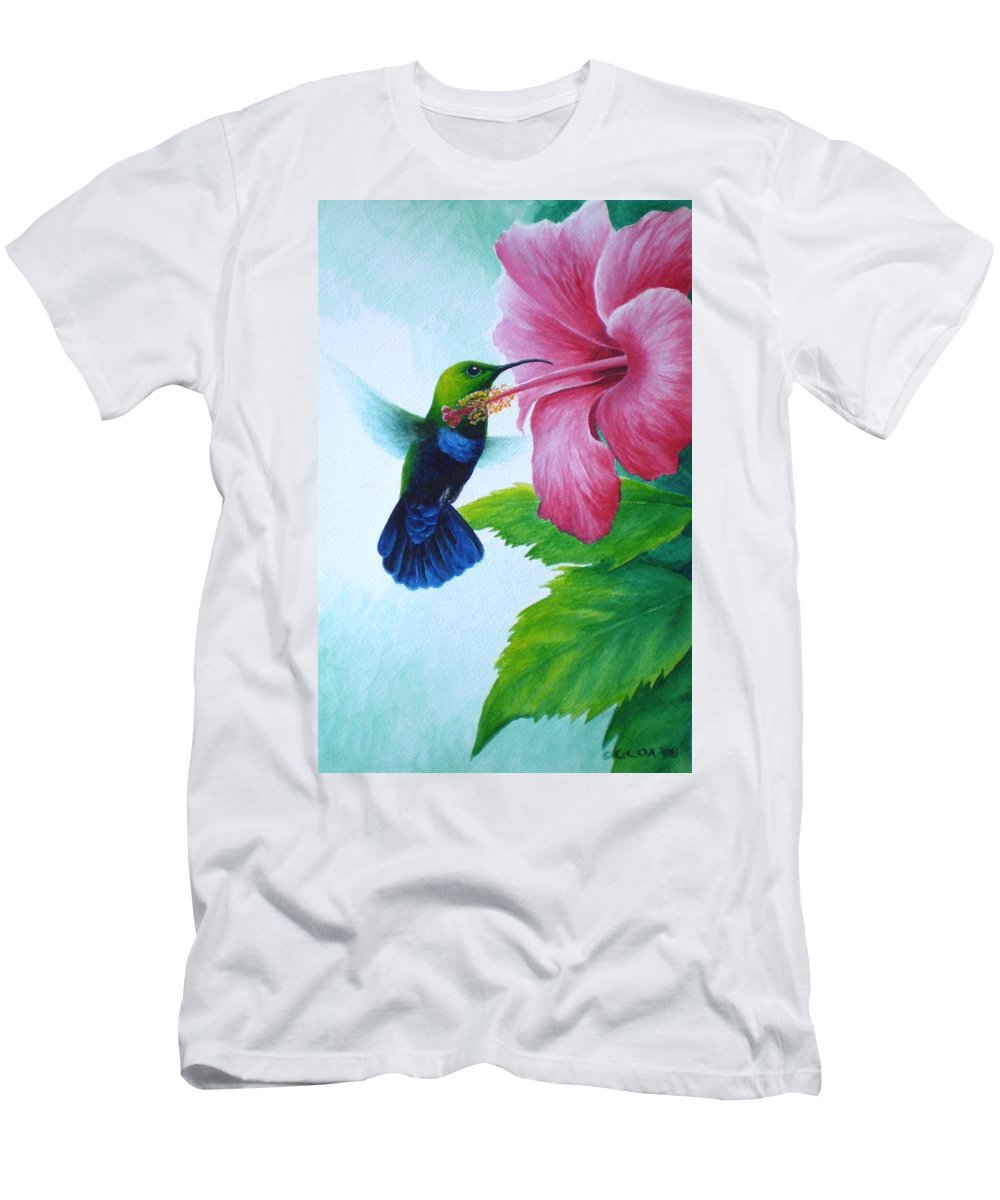Green-throated Carib Hummingbird Men's T-Shirt (Athletic Fit) featuring the painting Green-throated Carib And Pink Hibiscus by Christopher Cox