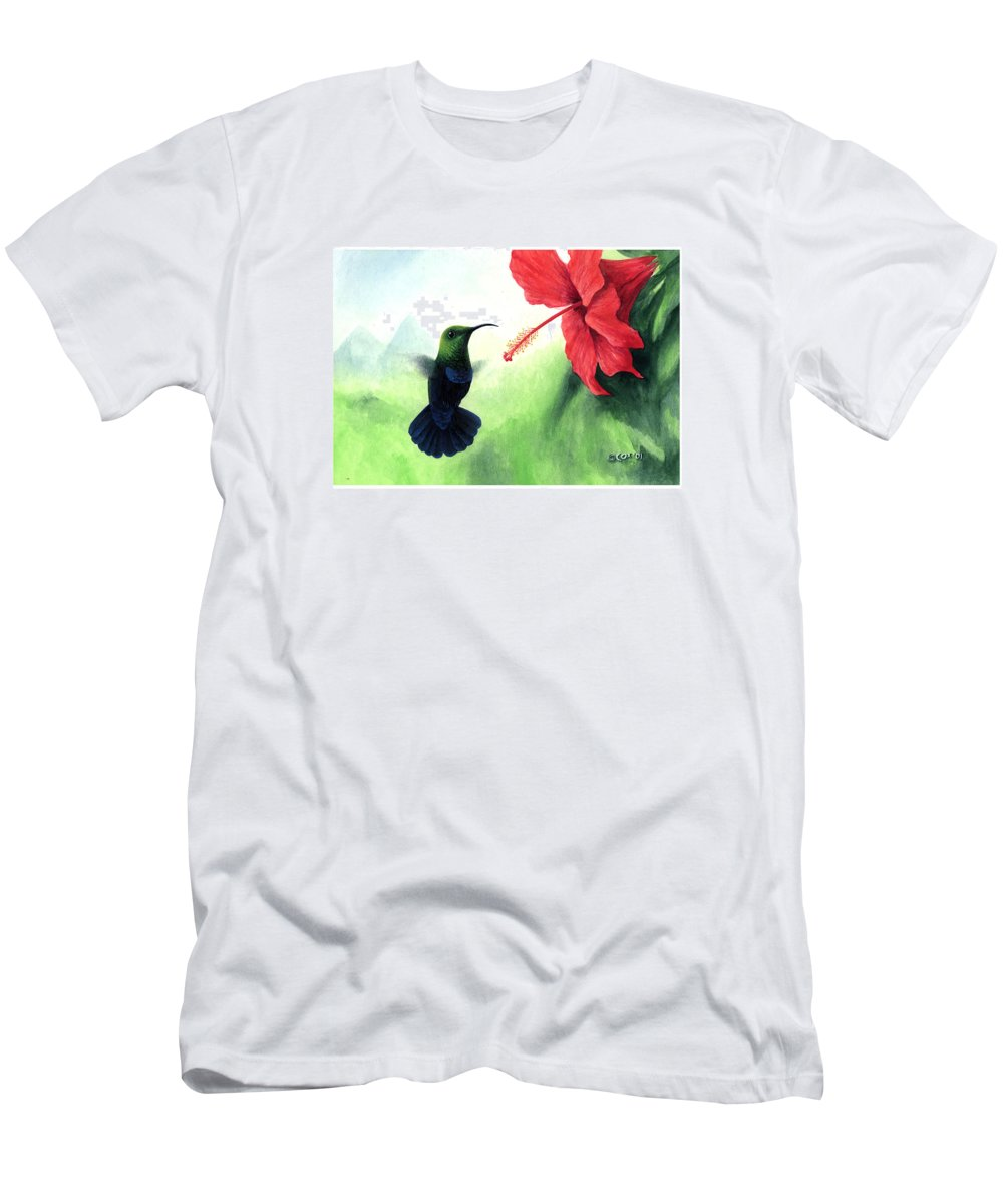 Chris Cox Men's T-Shirt (Athletic Fit) featuring the painting Green-throated Carib Hummingbird And Red Hibiscus by Christopher Cox