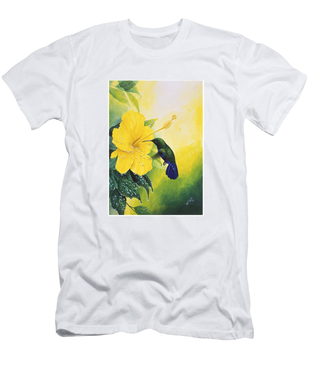 Chris Cox Men's T-Shirt (Athletic Fit) featuring the painting Green-throated Carib Hummingbird And Yellow Hibiscus by Christopher Cox