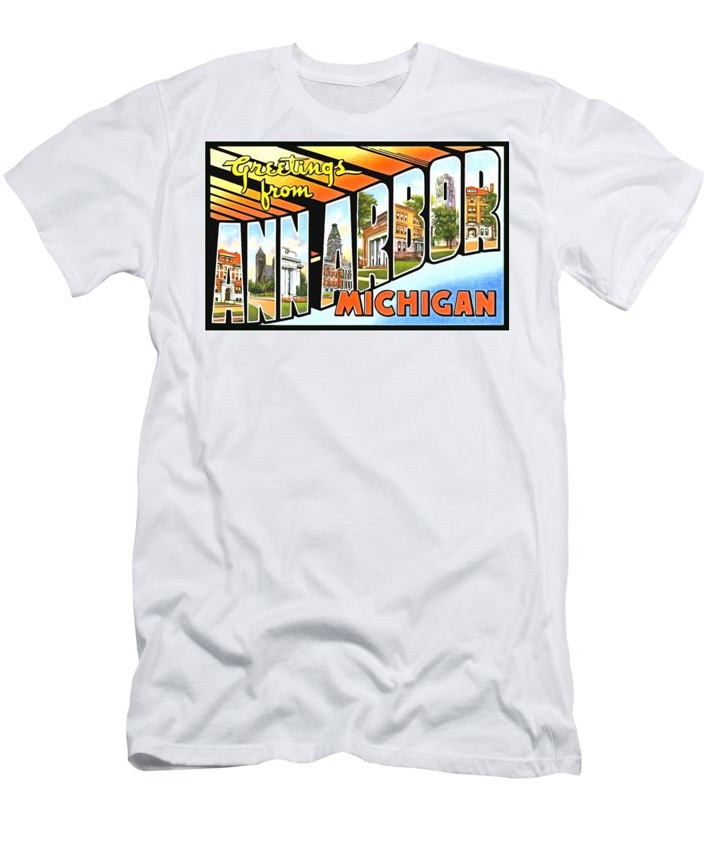 Vintage Collections Cites And States Men's T-Shirt (Athletic Fit) featuring the photograph Greetings From Ann Arbor Michigan by Vintage Collections Cites and States