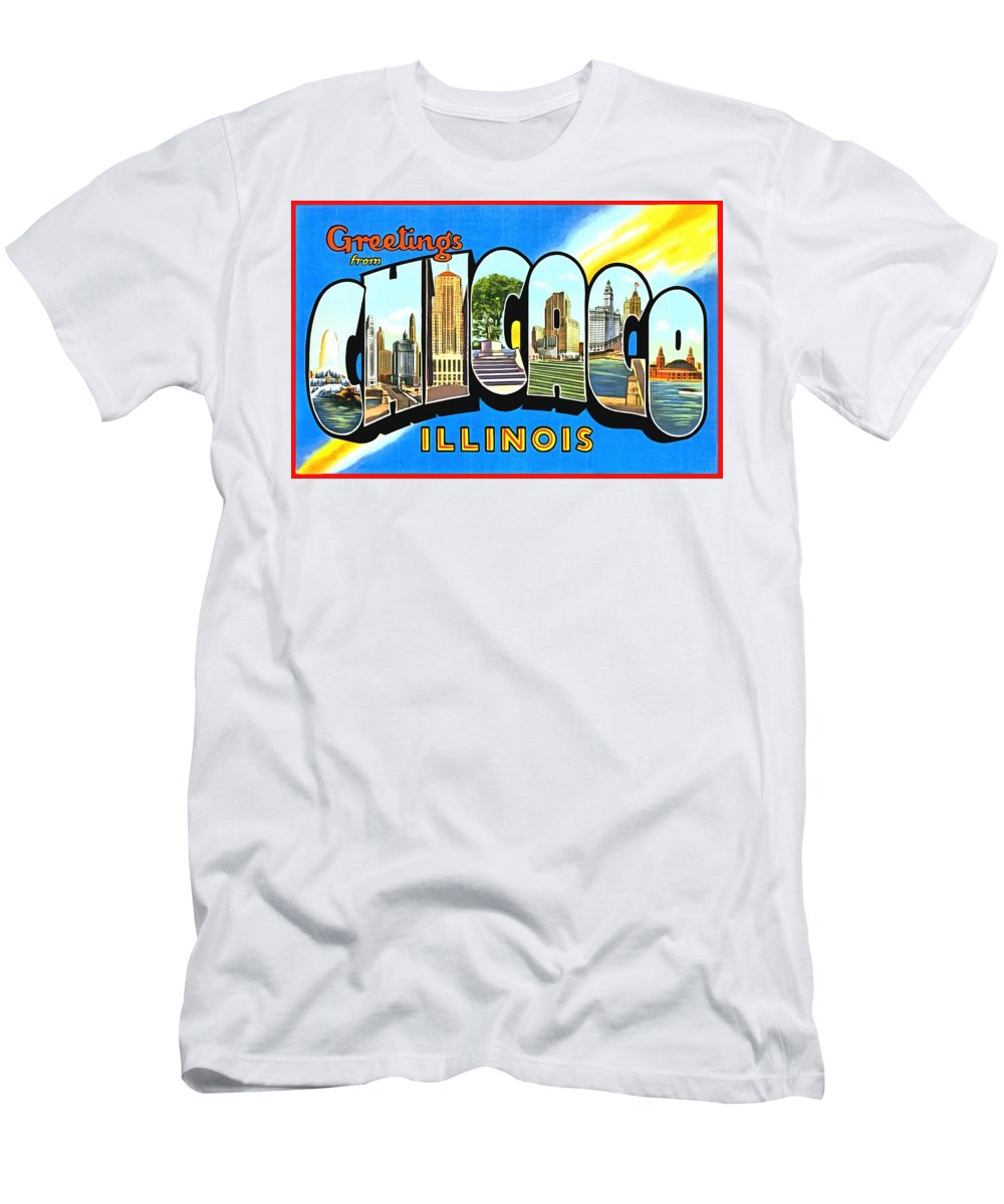 Vintage Collections Cites And States Men's T-Shirt (Athletic Fit) featuring the photograph Greetings From Chicago Illinois by Vintage Collections Cites and States