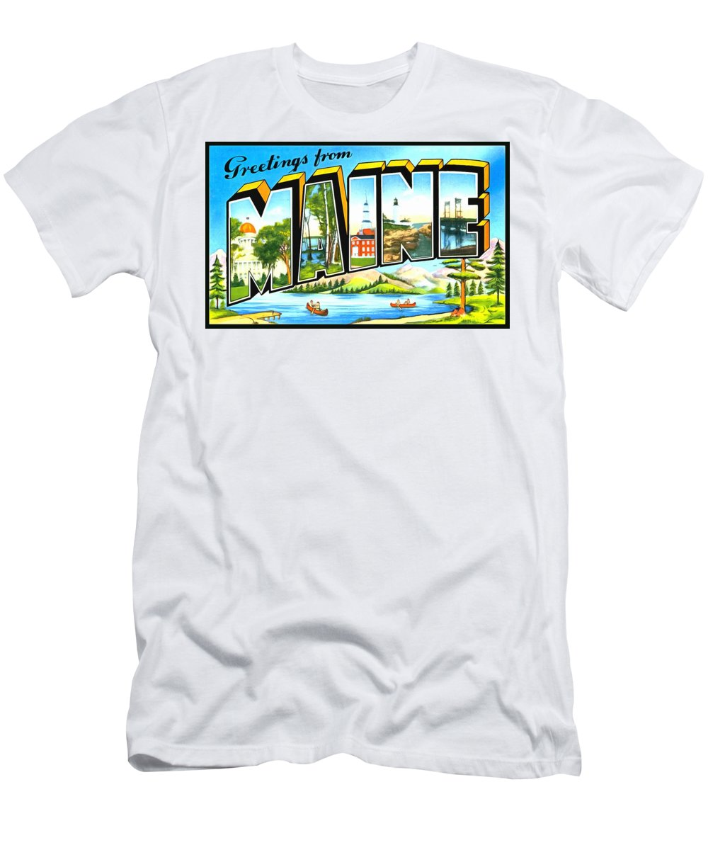 Vintage Collections Cites And States Men's T-Shirt (Athletic Fit) featuring the photograph Greetings From Main by Vintage Collections Cites and States