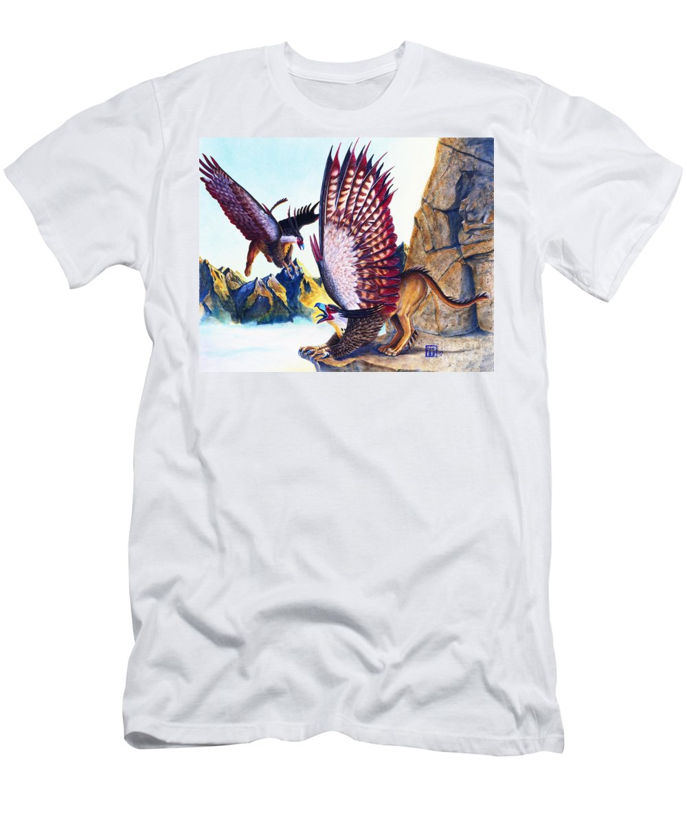 Griffin Men's T-Shirt (Athletic Fit) featuring the painting Griffins On Cliff by Melissa A Benson