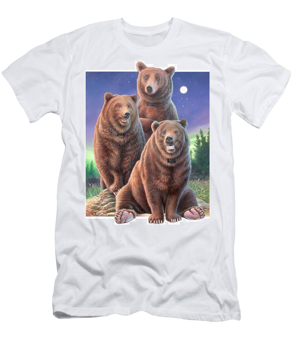Grizzly Men's T-Shirt (Athletic Fit) featuring the painting Grizzly Bears In Starry Night by Hans Droog