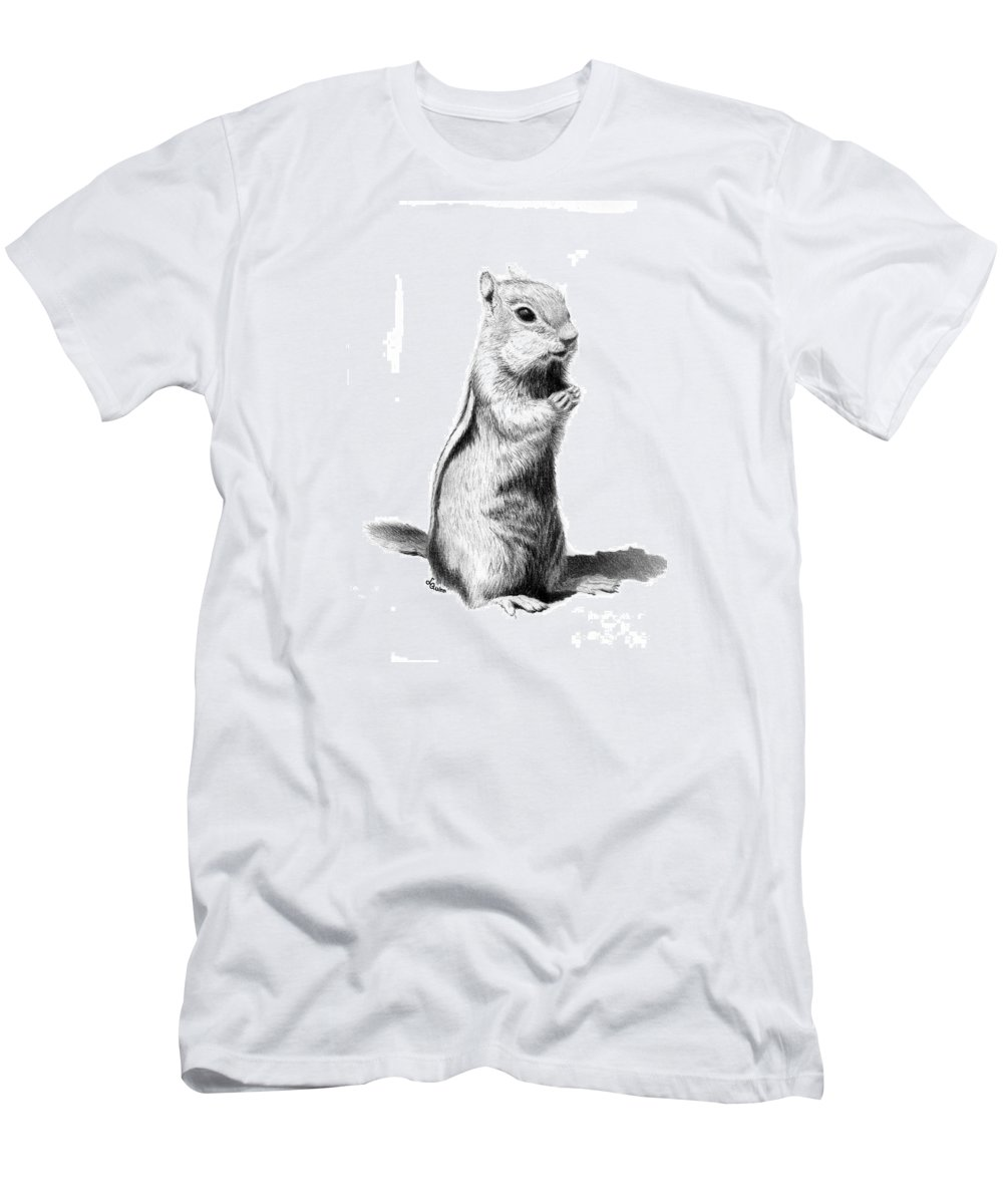Ground Squirrel Men's T-Shirt (Athletic Fit) featuring the drawing Ground Squirrel by Lynn Quinn
