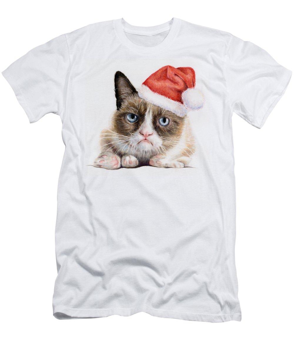 Grumpy T-Shirt featuring the painting Grumpy Cat As Santa by Olga Shvartsur