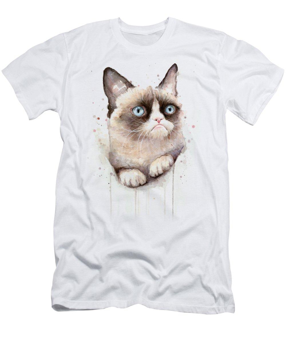 Grumpy T-Shirt featuring the painting Grumpy Cat Watercolor by Olga Shvartsur