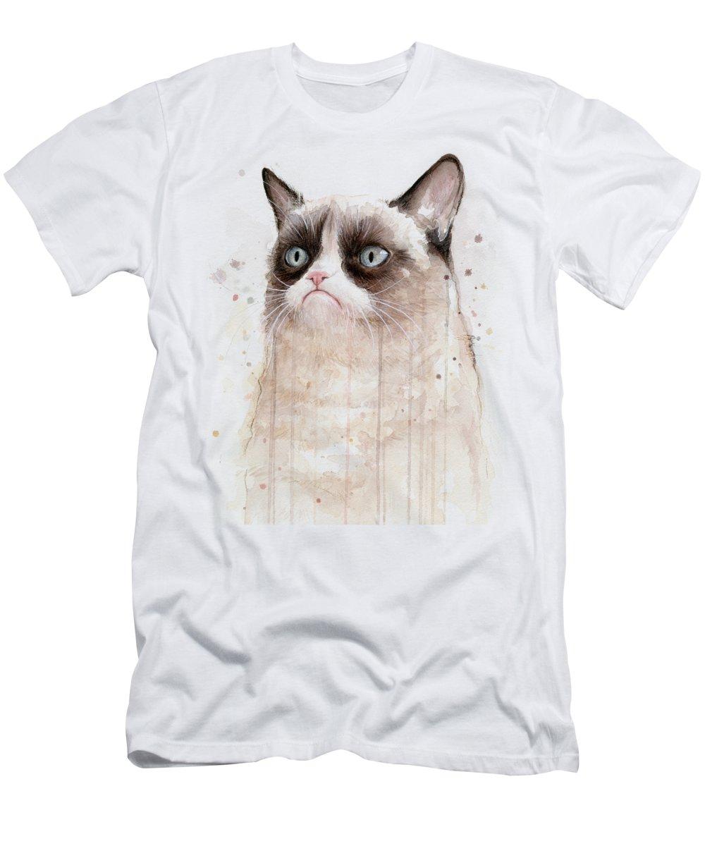 Grumpy T-Shirt featuring the painting Grumpy Watercolor Cat by Olga Shvartsur