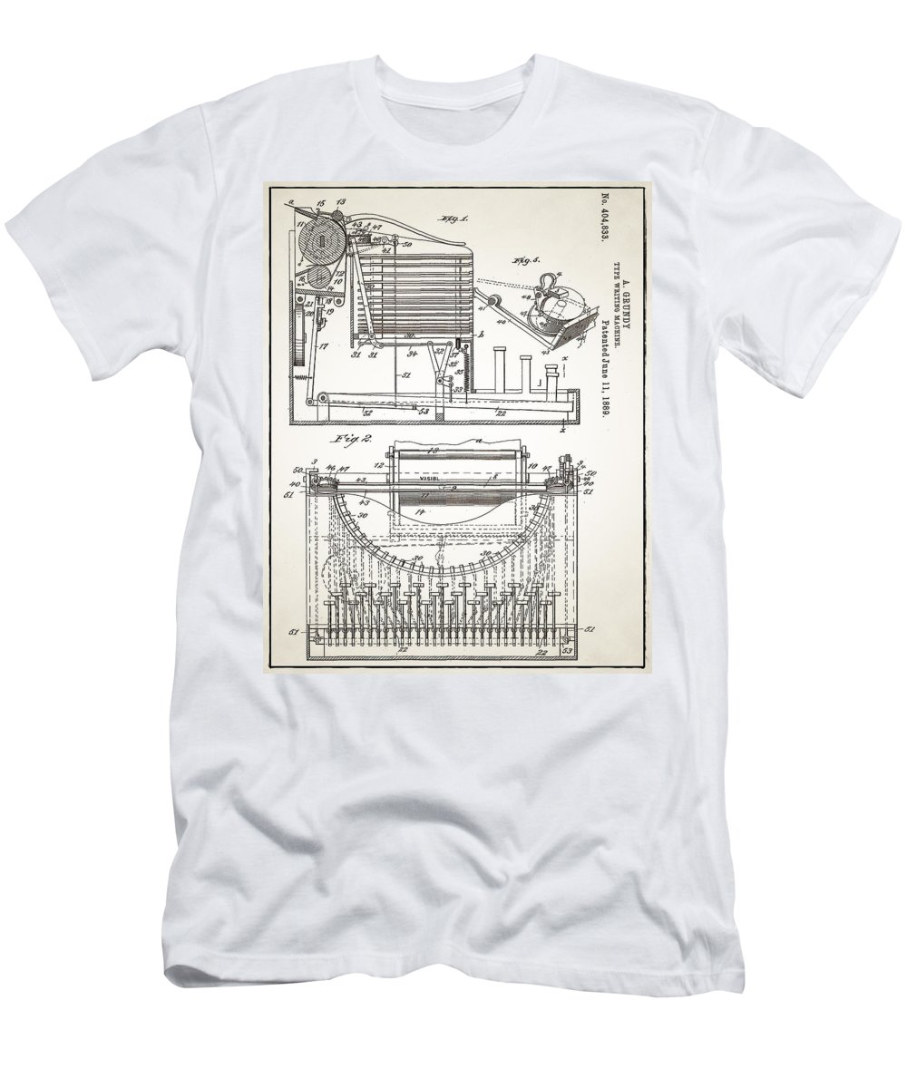 Grundy Men's T-Shirt (Athletic Fit) featuring the digital art Grundy Typewriter Patent 1889 by Bill Cannon