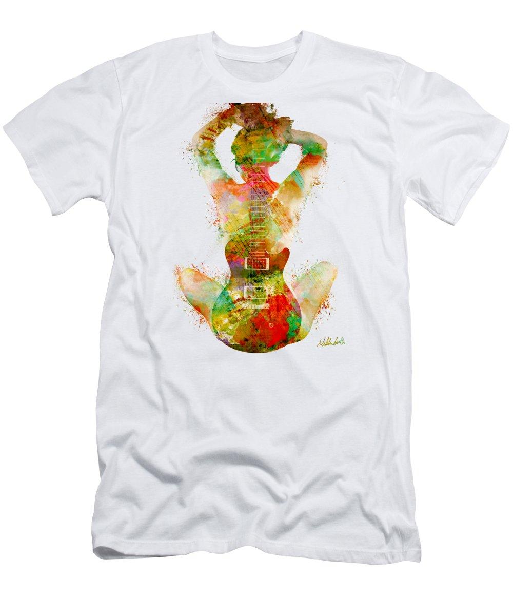 Guitar T-Shirt featuring the digital art Guitar Siren by Nikki Smith