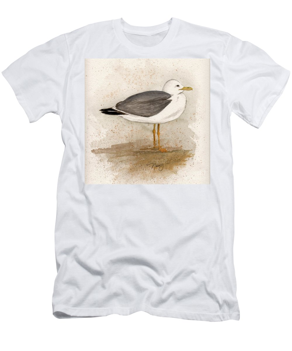 Seagull Men's T-Shirt (Athletic Fit) featuring the painting Gull by Nancy Patterson