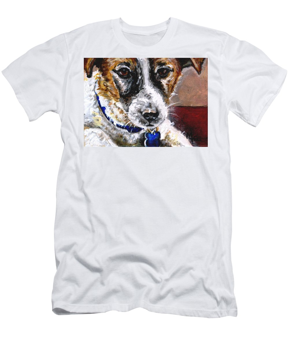 Chartiy Men's T-Shirt (Athletic Fit) featuring the painting Gunter From Muttville by Mary-Lee Sanders