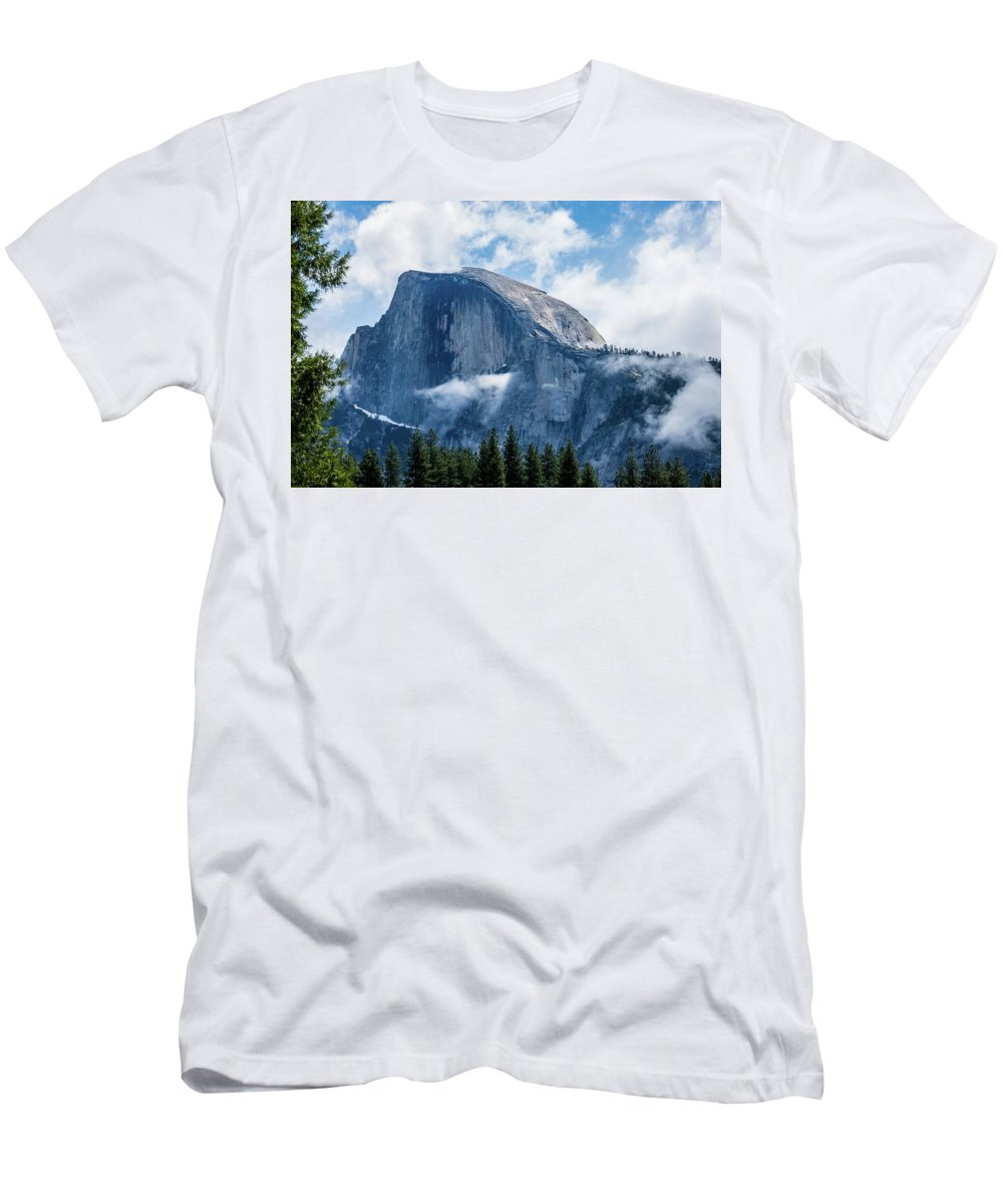 California Men's T-Shirt (Athletic Fit) featuring the photograph Half Dome In The Clouds by Randy Herring