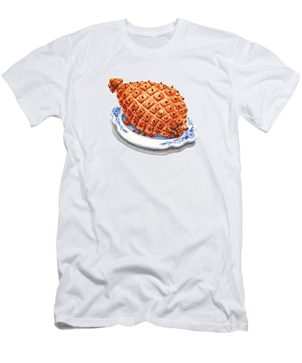 Ham Men's T-Shirt (Athletic Fit) featuring the photograph Ham On The Plate by Irina Sztukowski