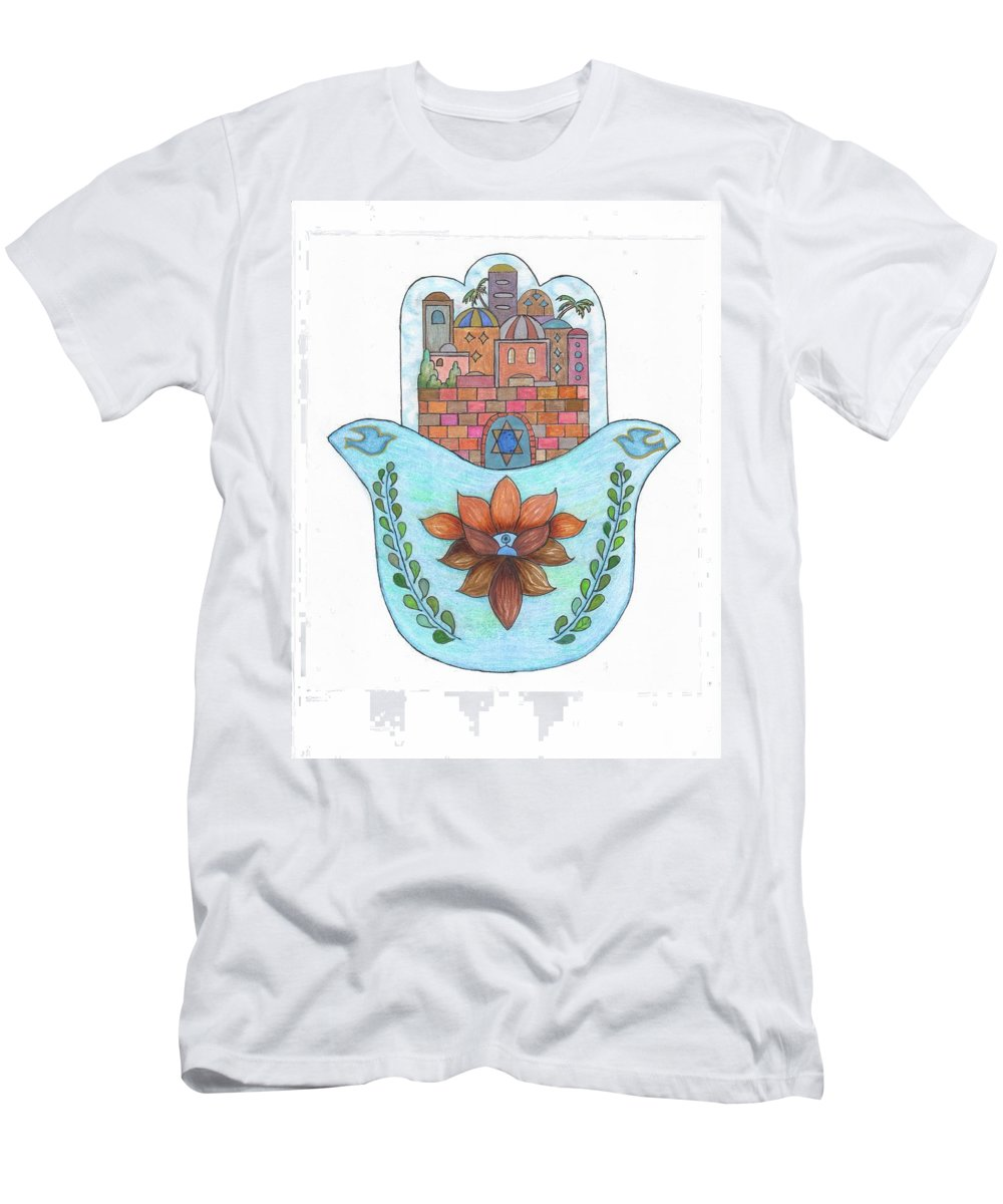 Men's T-Shirt (Athletic Fit) featuring the drawing Hamsa 13 by Suzanne Udell Levinger