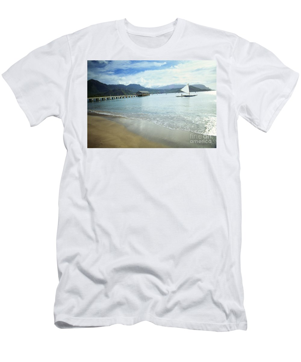 Bali Hai Men's T-Shirt (Athletic Fit) featuring the photograph Hanalei Bay Outrigger by Peter French - Printscapes