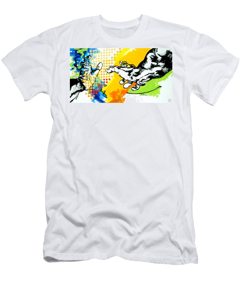Classic Men's T-Shirt (Athletic Fit) featuring the painting Hands by Jean Pierre Rousselet